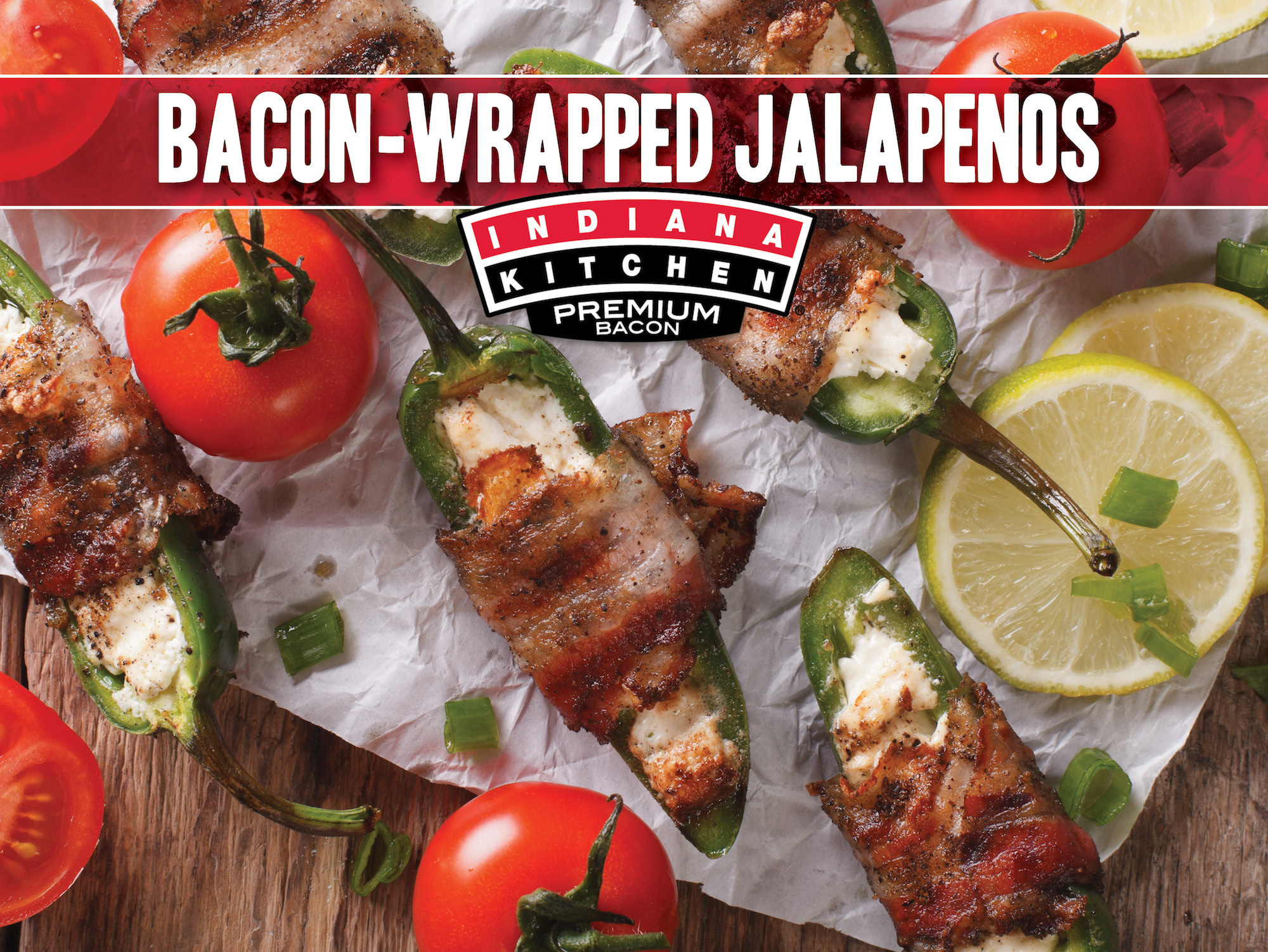 Bacon wrapped jalapeno poppers featuring Indiana Kitchen bacon