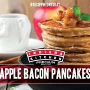 Apple Bacon Pancakes featuring Indiana Kitchen bacon