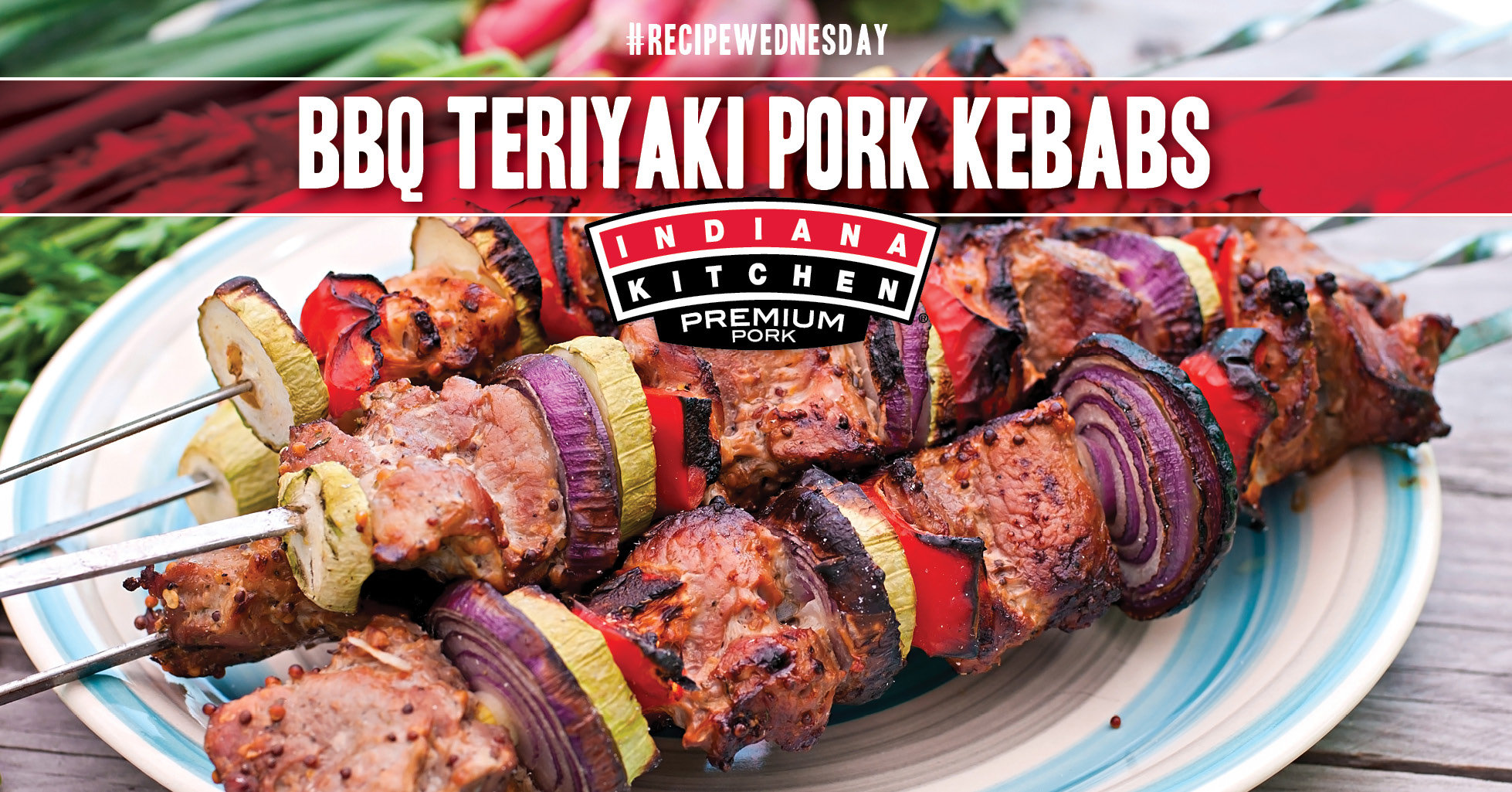 Grilled Pork Kebabs with vegetables