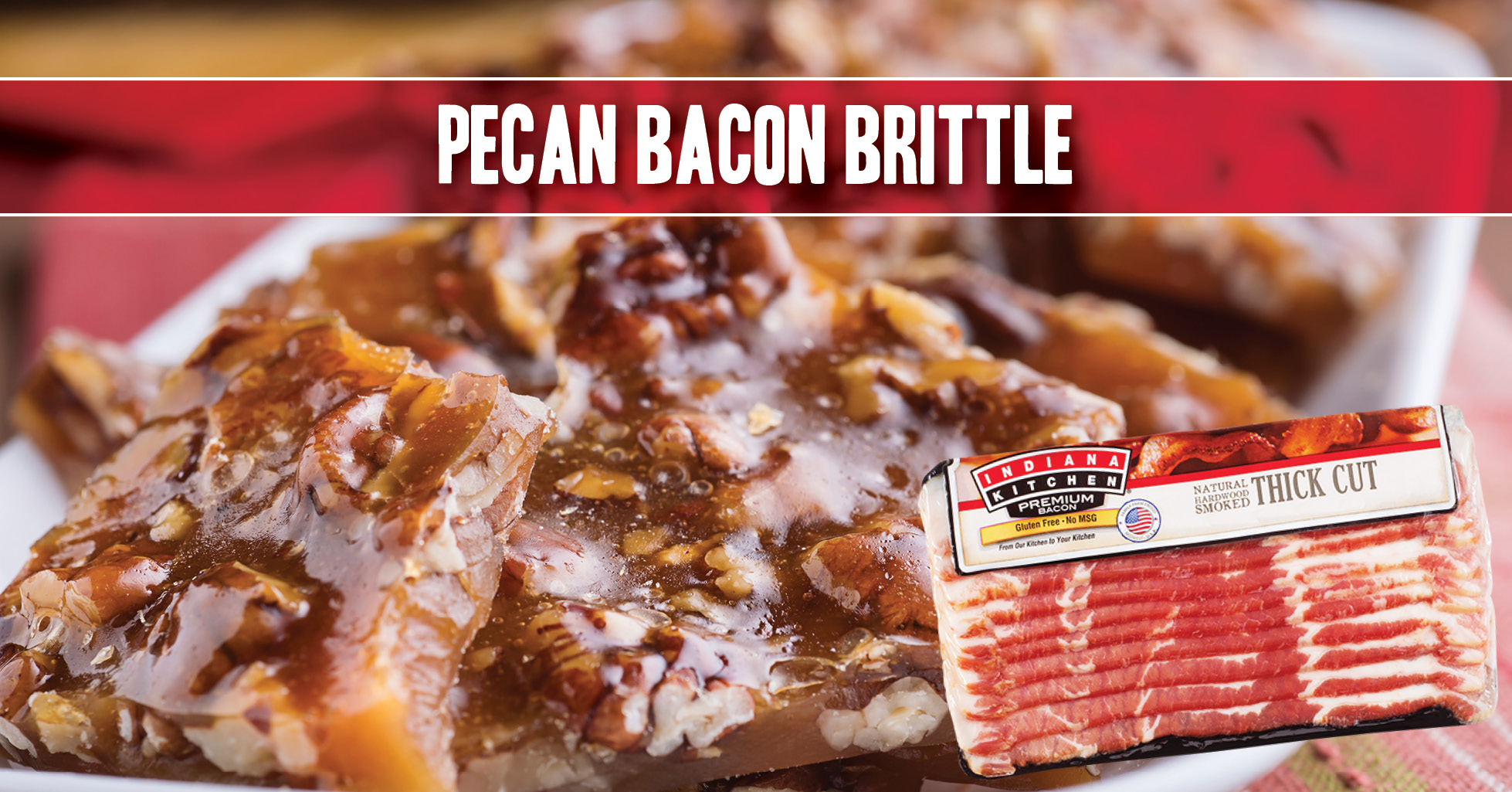 Pecan Bacon Brittle recipe featuring Indiana Kitchen bacon! Make it for your loved one as a gift for Valentine's Day!