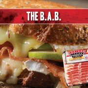 You've heard of the B.L.T? Well, meet the B.A.B! It's grilled cheese for adults featuring Brie, Granny Smith Apples, and Indiana Kitchen Bacon!