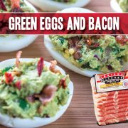 In honor of Seuss's birthday this week, some whimsical fare! We swear you'll love these Green Eggs and Bacon...here, there and everywhere! Introducing Avocado Deviled Eggs!