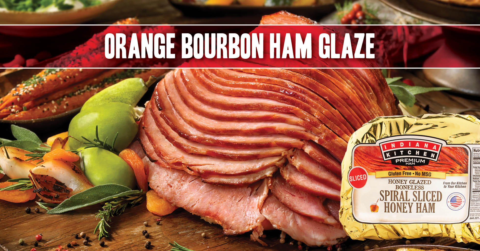 Try this recipe for an orange bourbon glaze with a touch of mustard on your next Indiana Kitchen ham