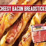 cheesy bacon breadsticks featuring indiana kitchen bacon