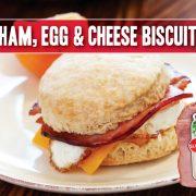 ham egg and cheese breakfast biscuit sandwich featuring Indiana Kitchen ham