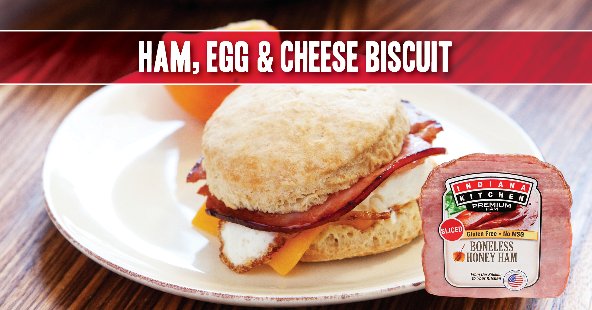 ham egg and cheese breakfast biscuit sandwich featuring Indiana Kitchen ham