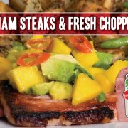 ham steak topped with summer salsa including mango, avocado, habanero chili and indiana kitchen ham