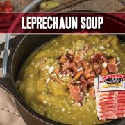 leprechaun soup featuring peas, corn, chicken broth, lettuce, onion and Indiana Kitchen bacon