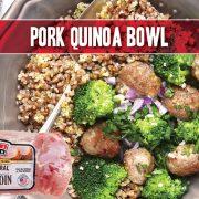 Indiana Kitchen pork bowl with quinoa and broccoli