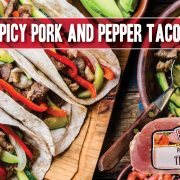 Spicy pork tacos with veggie toppings