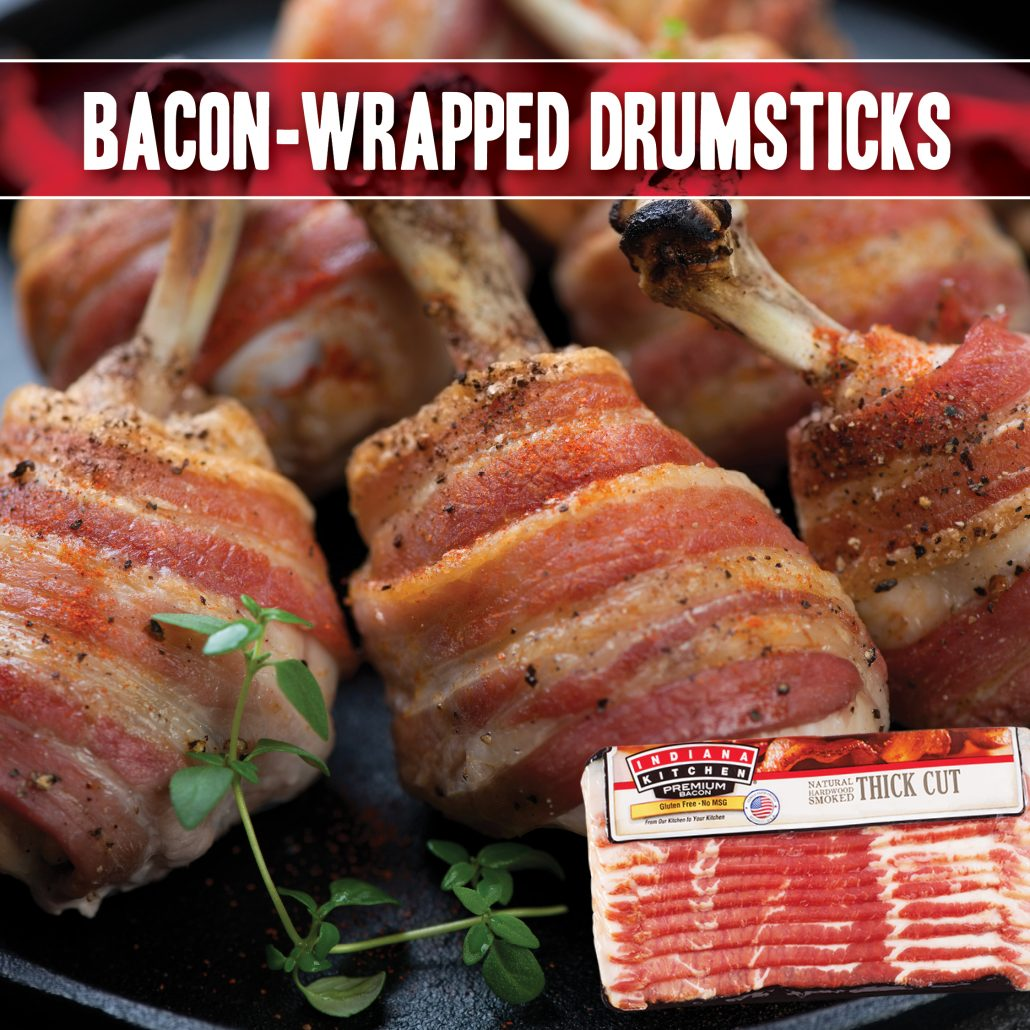 bacon-wrapped chicken leg drumstick recipe made with indiana kitchen bacon
