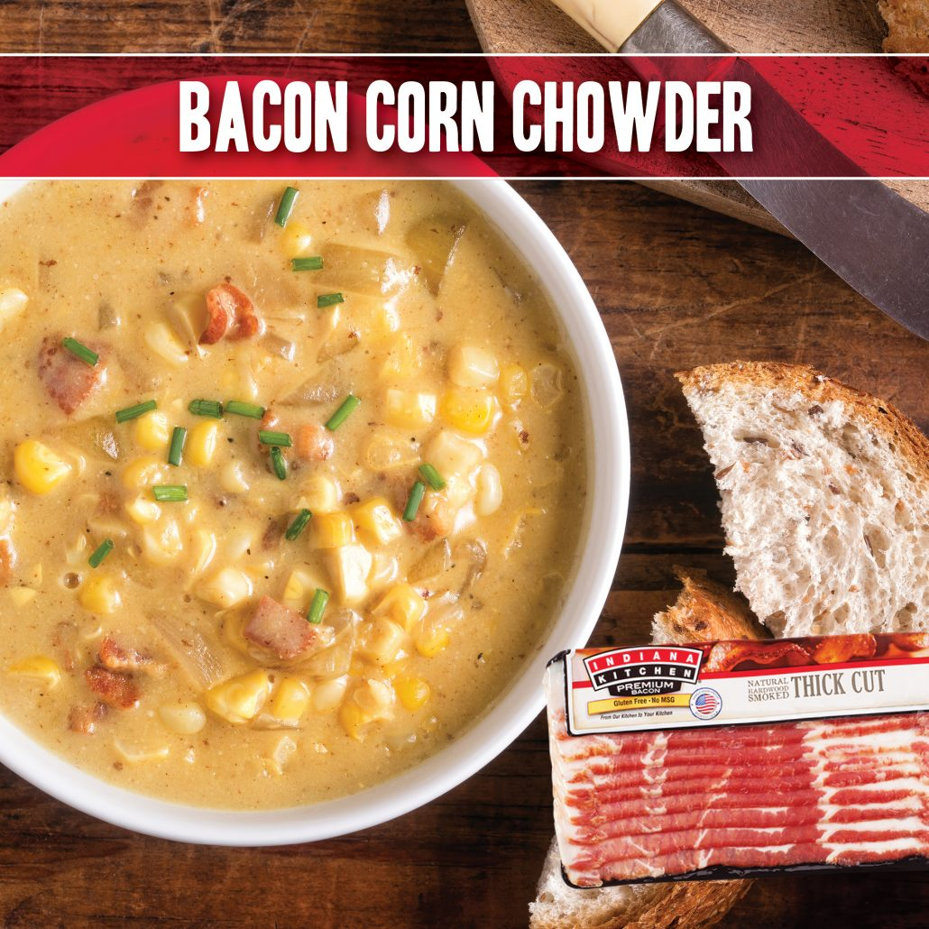 bacon corn chowder recipe made with indiana kitchen bacon