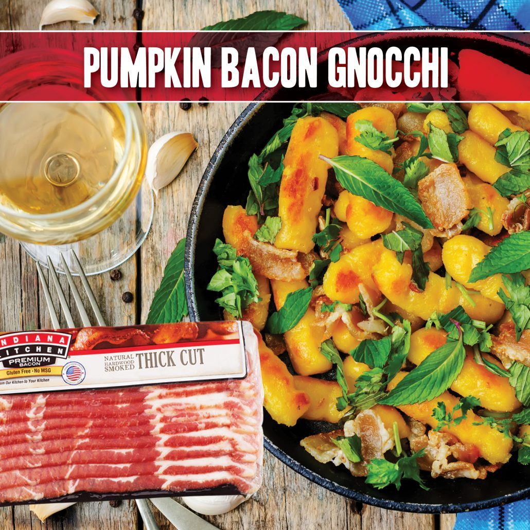 pumpkin bacon gnocchi made with indiana kitchen bacon