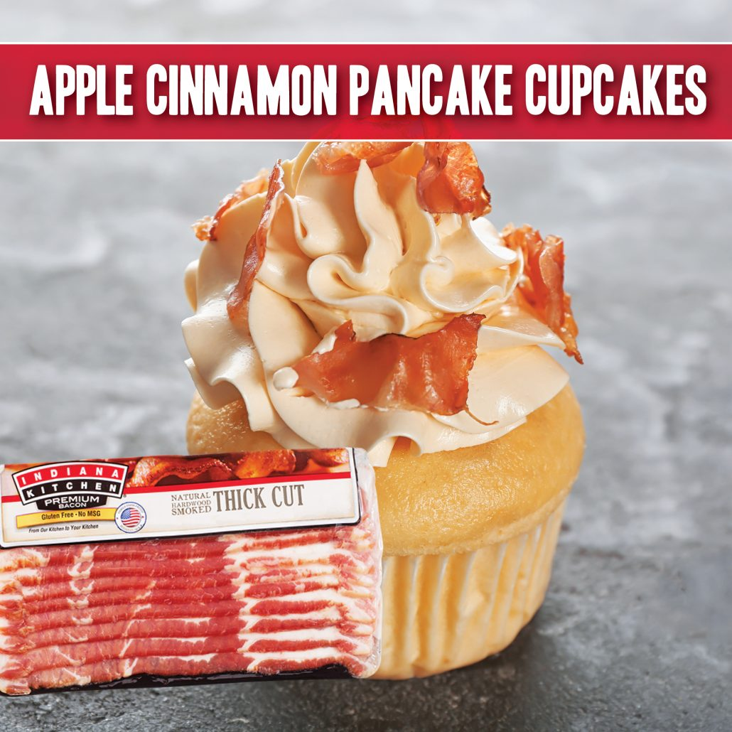 apple cinnamon pancake cupcake recipe made with indiana kitchen bacon sprinkles
