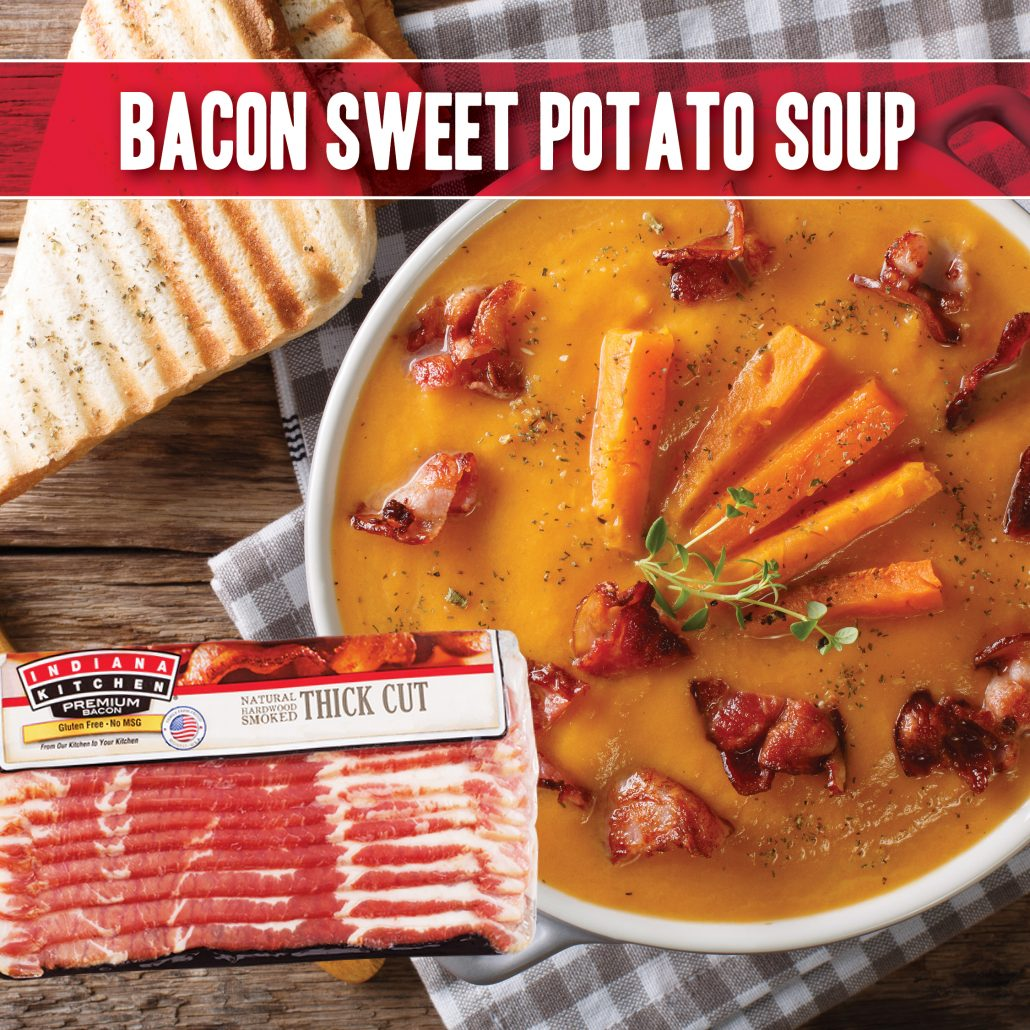 bacon sweet potato soup recipe made with indiana kitchen bacon