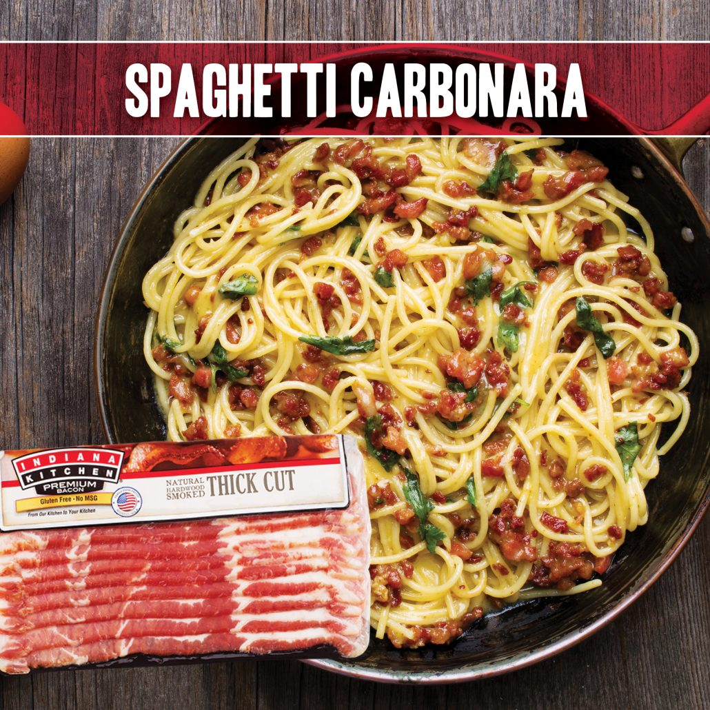 spaghetti carbonara recipe made with indiana kitchen bacon