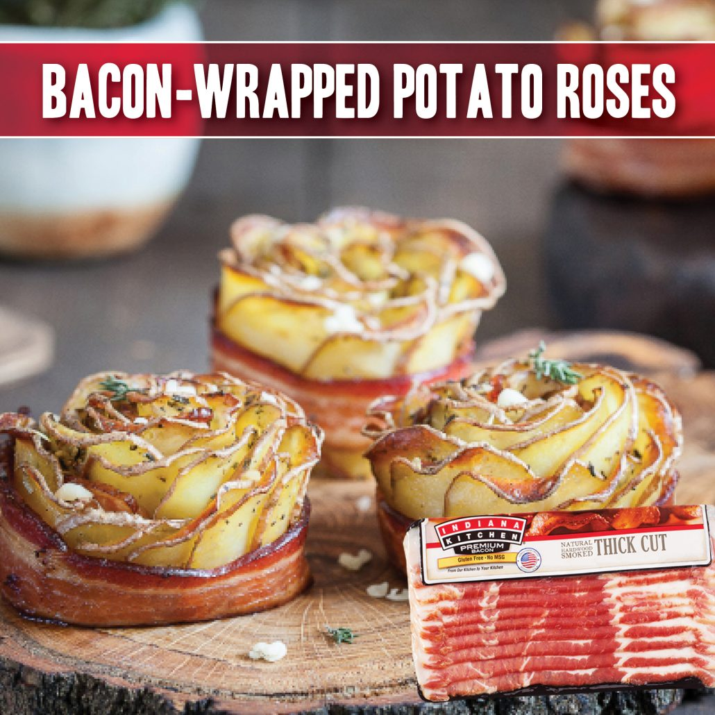 roses made from scalloped potatoes and wrapped in indiana kitchen bacon